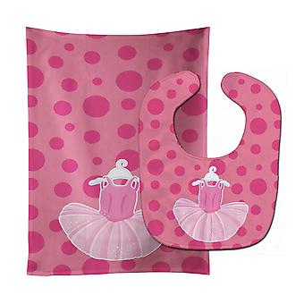 Carolines Treasures  BB8626STBU Ballet Tutu on Polka dots Baby Bib & Burp Cloth