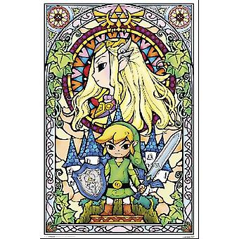 Zelda Window Stained Glass Window Poster Poster Print
