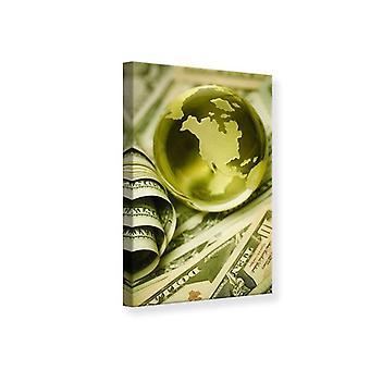 Canvas afdrukken geld maakt de wereld rond gaan.
