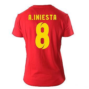 Andres Iniesta Visca El Barça herói t-shirt (vermelho)