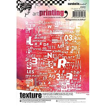 Carabelle Studio Art Printing A6 Rubber Texture Plate-Letters & Numbers Collage AP60001