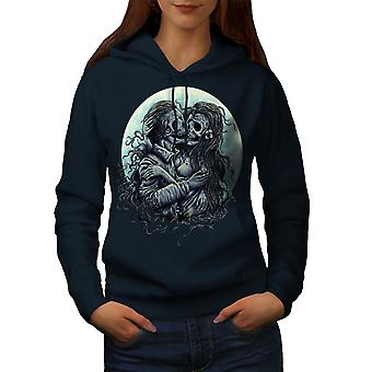 Zombie Dead Love Skull Women NavyHoodie | Wellcoda
