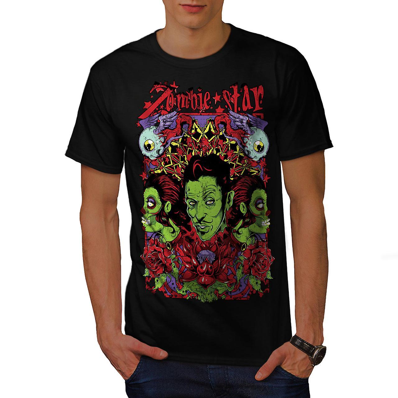 Star Funky Rose Zombie Men Black T-shirt | Wellcoda