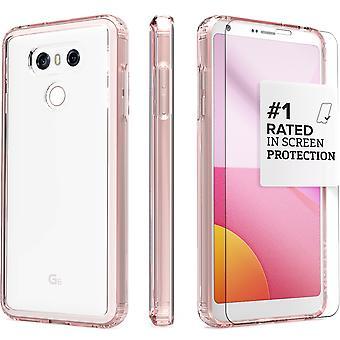 SaharaCase® LG G6 Rose Gold Case, Clear Protective Kit Bundle with ZeroDamage® Tempered Glass