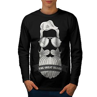 Hipster Beard Fashion Men BlackLong Sleeve T-shirt | Wellcoda