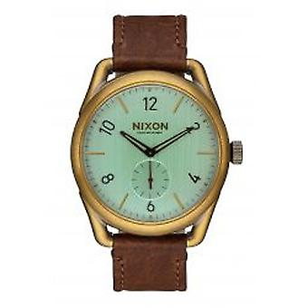Nixon a C39 couro bronze verde Crystal Brown Herrenuhr (A4592223)