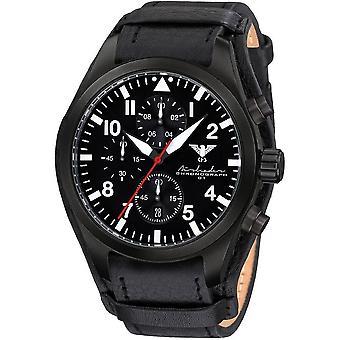 KHS Herrenuhr Airleader black steel chronograph KHS. AIRBSC. R