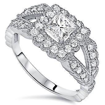 1 1/5ct Princess Cut Halo Diamond Engagement Ring 14K White Gold