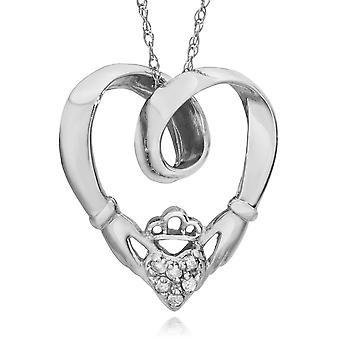 Claddagh Diamond Pendant 10K White Gold