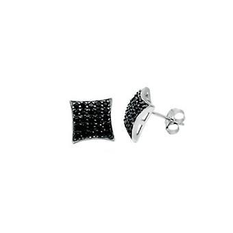 Sterling 925 Silver earrings - 5 x 5 black