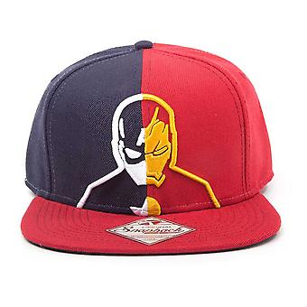 Marvel Comics Captain America: Civil War Unisex Captain America vs. Iron Man Silhouette Snapback Baseball Cap One Size Blue/Red (SB251004CAP)