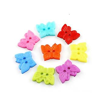 Packet 25 x Mixed Acrylic 18mm Butterfly 2-Holed Sew On Buttons HA09665