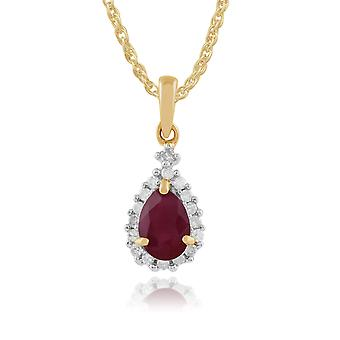 9ct Yellow Gold 0.72ct Ruby & Diamond Cluster Pendant on Chain