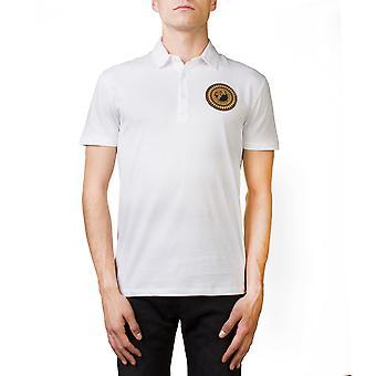 Versace Collection Men's Medusa Logo Regular Fit Pima Polo Shirt White