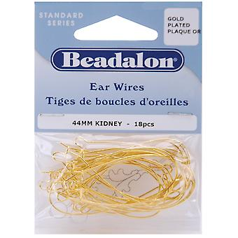 Kidney Ear Wires 44mm 18/Pkg-Gold-Plated