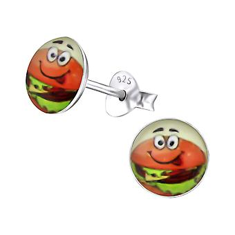 Burger - 925 Sterling Silver Colourful Ear Studs