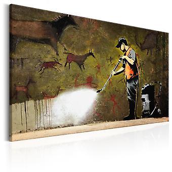 Leinwand Drucken - Höhle Malerei von Banksy
