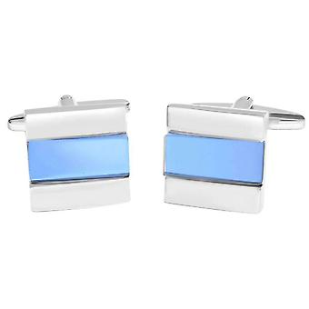 David Van Hagen Shiny Square Angled Cat Eye Stripe Cufflinks - Blue/Silver
