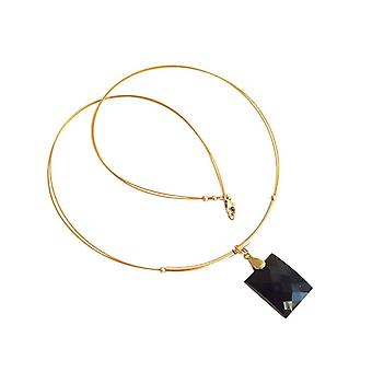 Gemshine - Damen - Halskette  - Anhänger - Vergoldet - Onyx - Facettiert - Schwarz - 45 cm