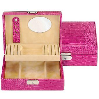 Schmuckkästchen Schmuckbox pink Sacher Leder in Kroko-Optik Spiegel Ringleisten