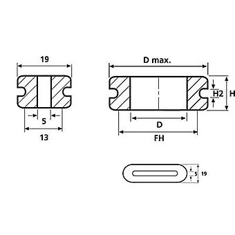 HellermannTyton HV1606-PVC-GY-D1 Cable grommet Terminal Ø (max.) 19 mm PVC Grey 1 pc(s)