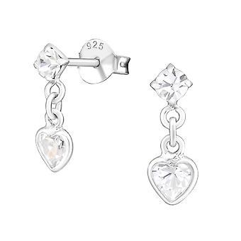 Hjerte - 925 Sterling sølv Cubic Zirconia øret knopper - W21724X