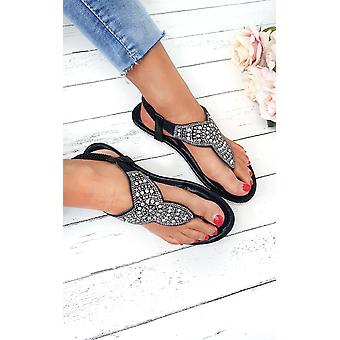 IKRUSH Zania de mujer Diamante adornado sandalias T-Bar