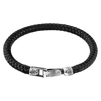 Anchor and Crew Paignton Rope Bracelet - Black/Silver