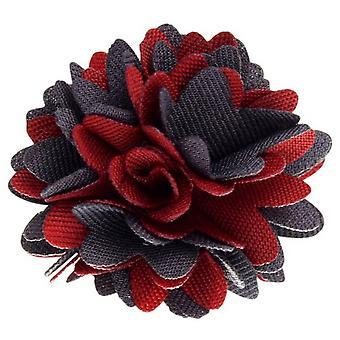 David Van Hagen stof blomst revers Pin - rød/grå