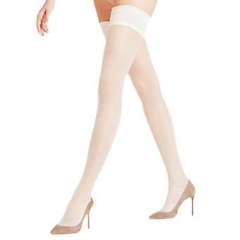 Falke Seidenglatt 15 Den Stay Up Transparent Stockings - Champagne Gold