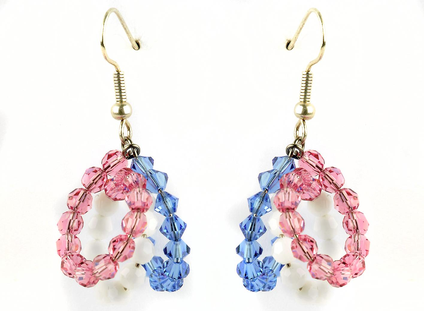 Waooh - jewelry - WJ0771 - Swarovski Pink & White - Mount Silver Blue Crystal earrings