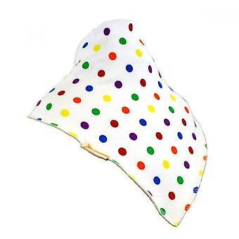 White multi-coloured spots xl bandana bib