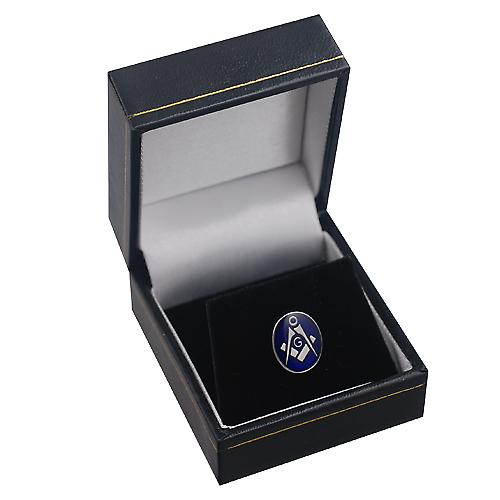 Rhodium Plated 12x10mm oval cold cure enamel Masonic with 'G' Tie tack