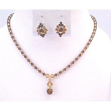 Lite Colorado Swarovski Crystals Smoked Topaz Drop Down Bridal Jewelry