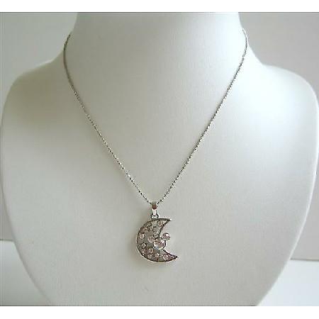 Simulated Diamond Half Moon Pendant Choker Necklace