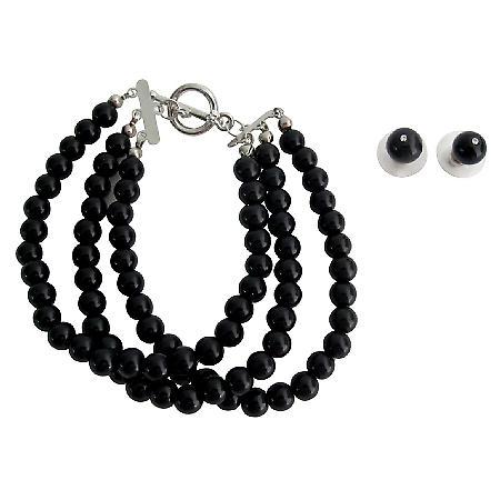 Attractive Bracelet Black Pearls Party Wear Mother Of Bride Jewelery