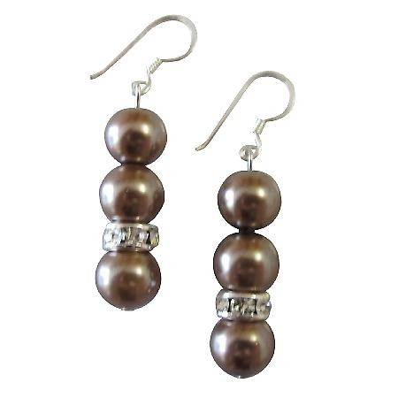 Prom Earrings Junior Bridesmaid Jewelry Brown Pearls