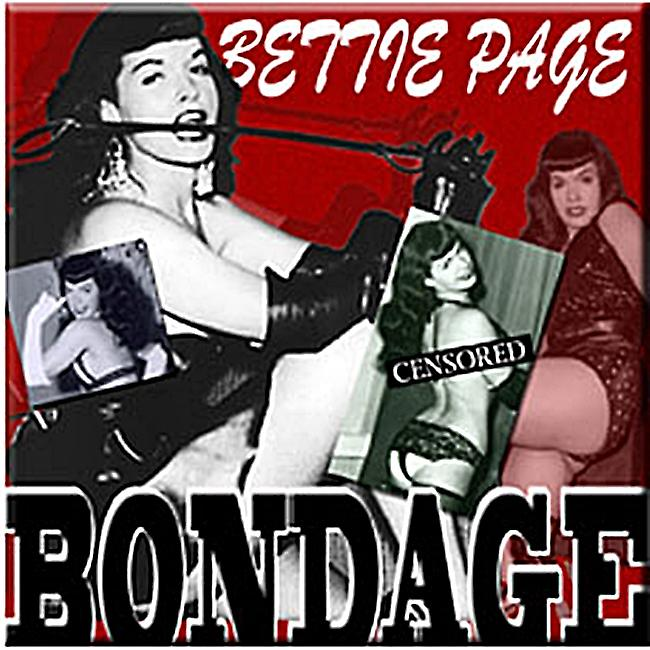 Bettie Page Bondage steel fridge magnet    (cv)