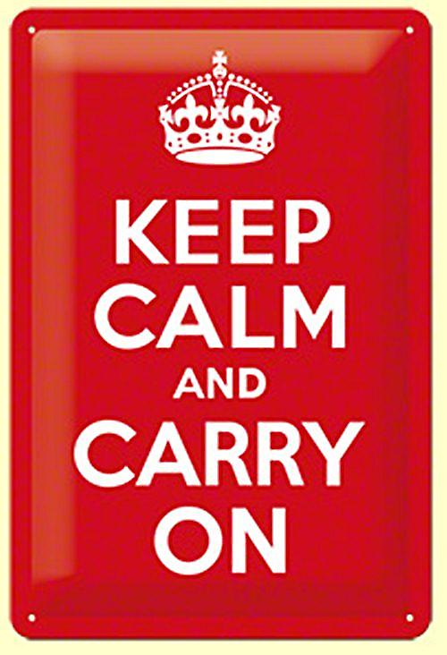 Keep Calm and Carry On embossed metal sign   (na 3020)
