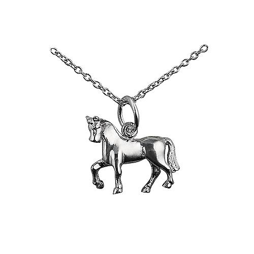 Silver 13x15mm unsaddled Horse Pendant with a rolo Chain 14 inches Only Suitable for Children