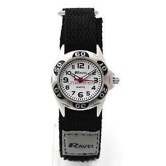 Ravel Analogue Boys Black & Grey Fabric Easy Fasten Strap Watch R1507.29
