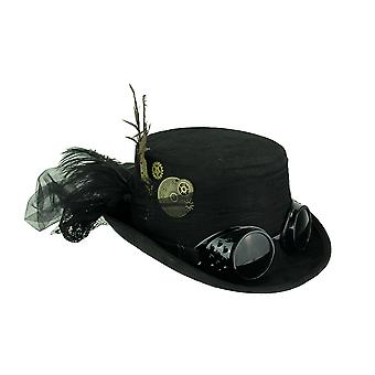 Black Victorian Ladies Steampunk Top Hat with Feathers and Tulle Bow