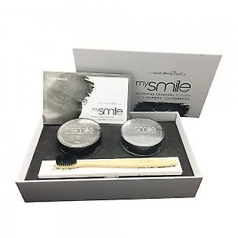 Eco Masters mySmile Activated Charcoal Powder with Bamboo Toothbrush - 2 x 30g Activated Coconut Charcoal Powder + 2 x Bamboo Brush For Teeth