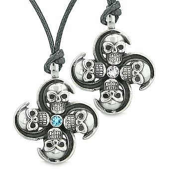 Supernatural Skull Amulet Powers Love Couples Best Friends Sky Blue White Crystals Adjustable Necklaces