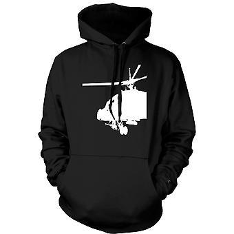 メンズ フーディー - Apache コックピット ヘリコプター - 戦争