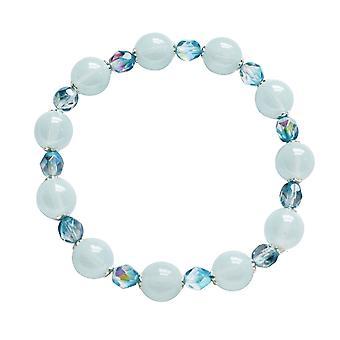Eternal Collection Morning Dew Blue/Aquamarine Czech Crystal Stretch Bracelet