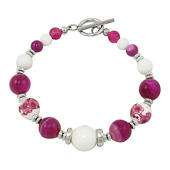 Ewige Sammlung Himbeer Freude am weißen Berg Jade und Fuchsia Achat Perlen Armband