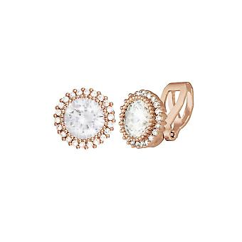 Eternal Collection Dazzle Cubic Zirconia Rose Gold Tone Stud Clip On Earrings