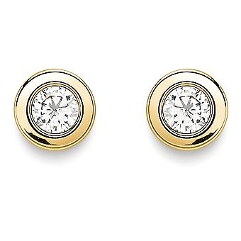 Jewelco London 9ct Oro Cubic acidino Sarco Anello Rubover Round Stud Orecchini 4mm