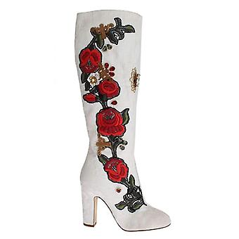 Dolce & Gabbana Roses Crystal Gold Heart Brocade Boots Shoes -- SIG1371013